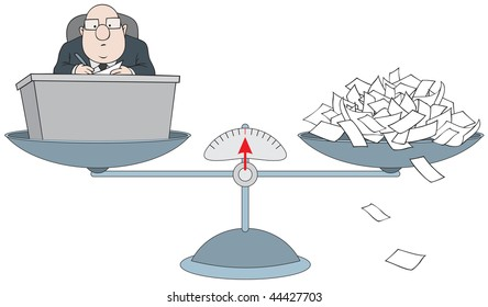 Bureaucrat on the scales with the pile of paper