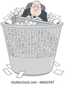 Bureaucrat in wastepaper basket