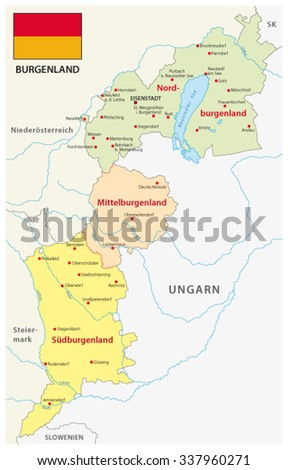 Burgenland Administrative Map Flag German Language Stock ...