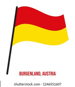 Burgenland Flag Waving Vector Illustration on White Background. States Flag of Austria.