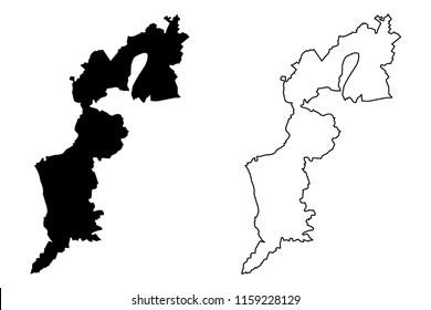 Burgenland (Republic of Austria) map vector illustration, scribble sketch Burgenland map