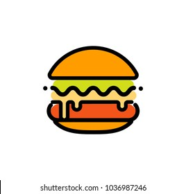 Burger abstract outline vector logo template, fast food isolated line art stylized icon, unusual illustration on white background