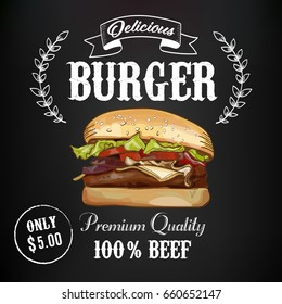 Burger advertising poster design with hand drawn graphic elements on the chalkboard background. Hamburger vector illustration.