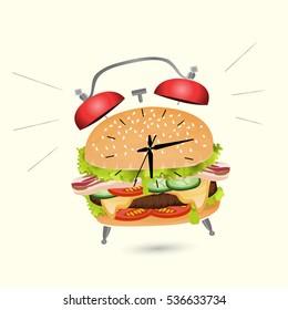 Burger and alarm clock design, vector illustration of lunch. Concept for delivery  menu, cafe, restaurant. Logo template. fast food background.