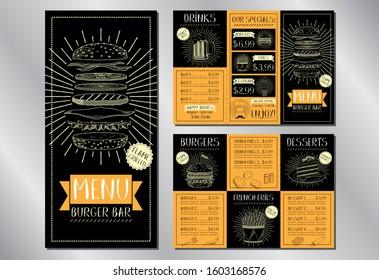 Burger bar menu flyer template - 3 x DL (99 x 210 mm)