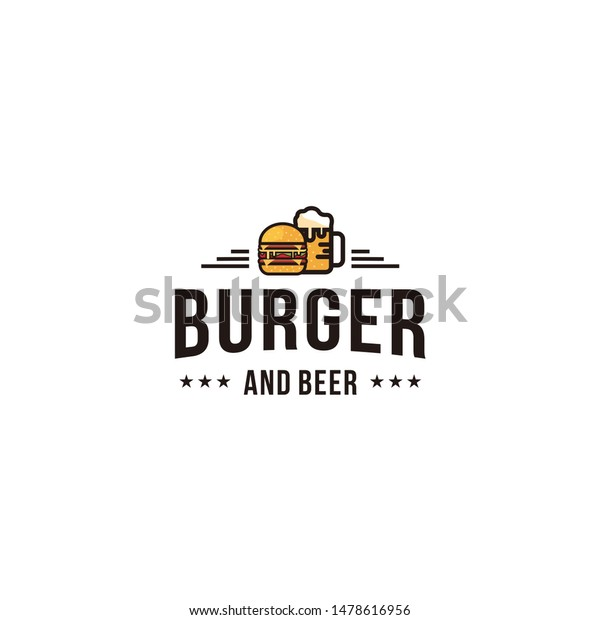 Burger Beer Logo Design Inspiration Stock Vector Royalty Free 1478616956