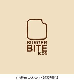 Burger bite icon. Vector illustration