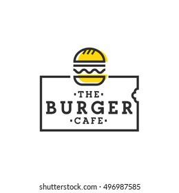 Burger cafe. Burger logo, emblem, label
