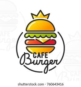Burger cafe. Burger logo, emblem and label