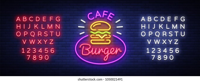 Burger cafe neon sign. Fastfood burger sandwich neon logo, bright banner, design template, night neon advertising for dining restaurant, street food. Vector Illustrations. Editing text neon sign
