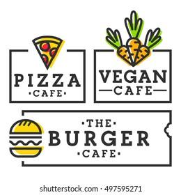 Burger cafe. Pizza cafe. Vegan cafe. Set burger, pizza and vegan logo, emblem, label