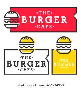Burger cafe. Set burger logo, emblem, label