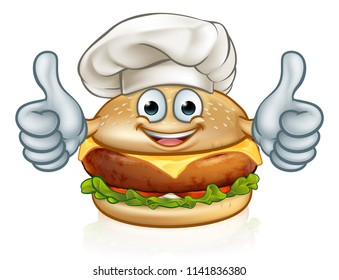 A burger cartoon character food mascot giving a thumbs up and wearing a chefs hat