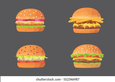 Burger cartoon fast food set. cheeseburger and hamburger vector illustration