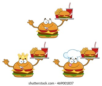 Burger Cartoon Mascot Character 5. Vector Collection Set
