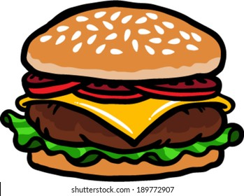 Burger cartoon vector illustration