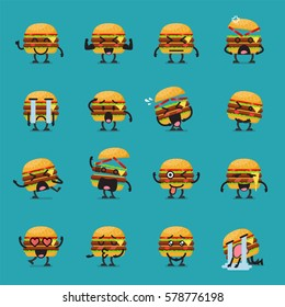 Burger character emoji set. Vector illustration