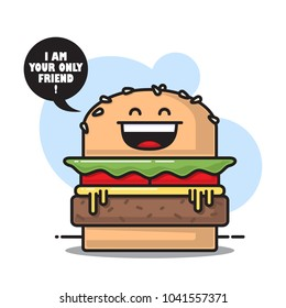 Burger character icon. Vector illustration