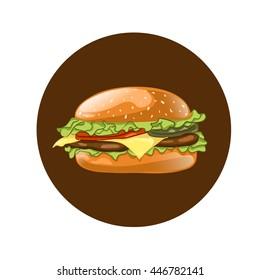 Burger. Cheeseburger vector illustration. Hamburger icon. Fast food concept.