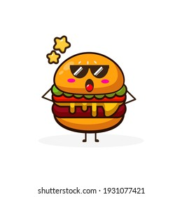 Burger cool cute character illustration simple