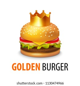 Burger with Crown isolated on white background. Vector Clipart of Tasty Sandwich with Caption.