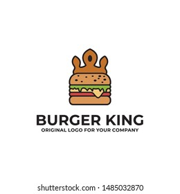Burger and Crown logo can be used as symbols, brand identity, icons, or others.  Color and text can be changed according to your need. Creative Food logo design inspiration.