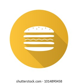 Burger cutaway flat design long shadow glyph icon. Sandwich. Hamburger assembly. Vector silhouette illustration