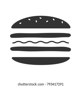 Burger cutaway glyph icon. Sandwich. Hamburger assembly. Silhouette symbol. Negative space. Vector isolated illustration