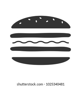 Burger cutaway glyph icon. Silhouette symbol. Negative space. Sandwich. Hamburger assembly. Vector isolated illustration