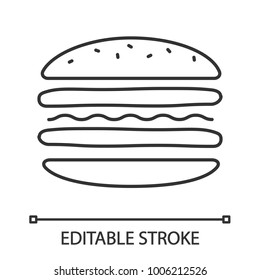 Burger cutaway linear icon. Sandwich. Thin line illustration. Hamburger assembly. Contour symbol. Vector isolated outline drawing. Editable stroke