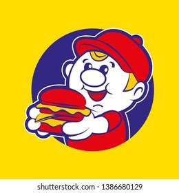 burger delivery boy mascot holding a big yummy burger - vector character illustration mascot