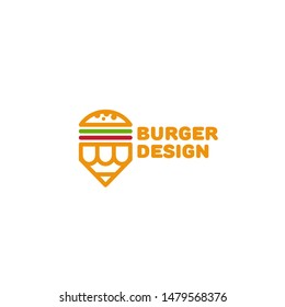 Burger design logo template in linear style. Vector illustration.