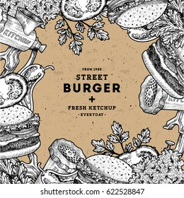 Burger design template. Linear graphic. Snack collection. Junk food. Engraved illustration. Vector illustration