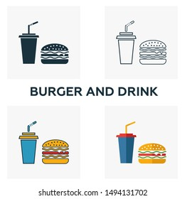 Burger And Drink icon set. Four elements in diferent styles from fastfood icons collection. Creative burger and drink icons filled, outline, colored and flat symbols.