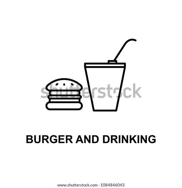 burger and drinking icon. Element of cinema for mobile concept and web apps. Thin line burger and drinking icon can be used for web and mobile. Premium icon on white background
