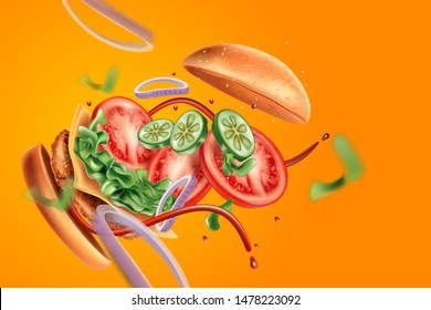 Burger explosion with ingredients of herbs ads, On solid color background. Realistic vector in 3d illustration.