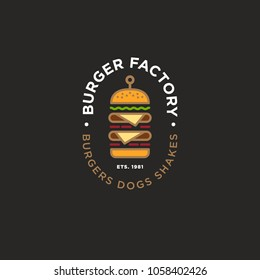 Burger factory logo. Hamburger restaurant emblem. Colored Linear flat logo. Big burger and letters on a dark background.
