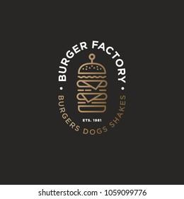 Burger factory logo. Hamburger restaurant emblem. Linear flat logo. Big burger and letters on a dark background.