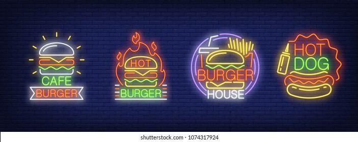 Burger fast food cafe neon signs collection. Neon sign, night bright advertisement, colorful signboard, light banner. Vector illustration in neon style.
