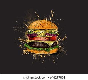 Burger - fast food concept, Hand Drawn Sketch Vector illustration.