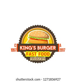 Burger fast food icon for cinema bar or fastfood snacks menu. Vector isolated sign of hamburger or cheeseburger sandwich for fastfood restaurant, bistro or delivery and takeaway