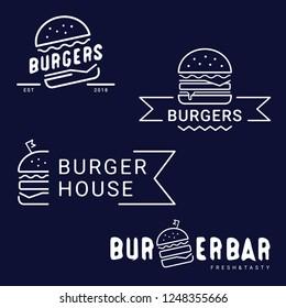 Burger, fast food logo or icon, emblem. Outline design. Set of Burger shop logotypes. Label for menu design restaurant or cafe. Capital letters, vector illustration.