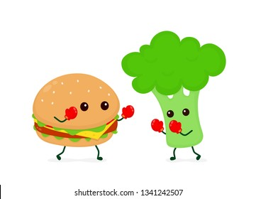 Burger fighting with broccoli in boxing glover. Vector flat cartoon character illustration icon design. Burger vs broccoli. Healthy food against fast junky food concept