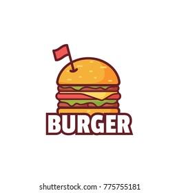 Burger with flag on top, Logo illustration