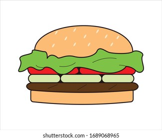 Burger with Flat Illustration style or Cartoon style