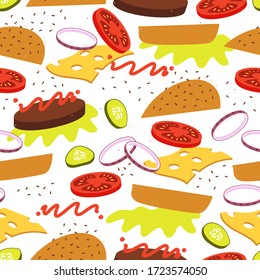 Burger with flying ingredients seamless pattern. Bun, tomato, salad, cheese, onion, cucumber. Vector illustration.