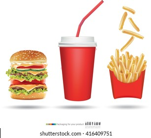 Burger fries and cola vector illustration