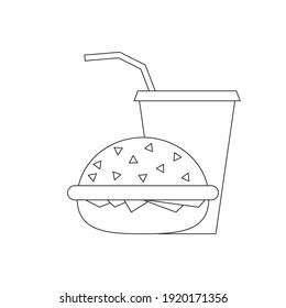 Burger and a glass of juice. Vector black outline. White isolated background.