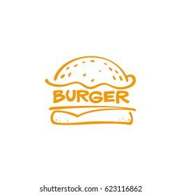 Burger graphic vector image, logo sandwich, lettering