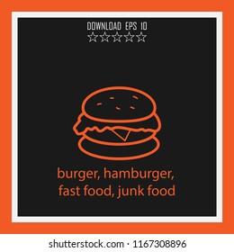 burger, hamburger, fast food, junk food vector icon
